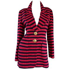 Vintage Christian Dior Couture Red Navy Blue Striped Nautical Blazer... ($795) ❤ liked on Polyvore featuring outerwear, jackets, blazer jacket, nautical jacket, navy blazers, striped jacket and oversized jacket