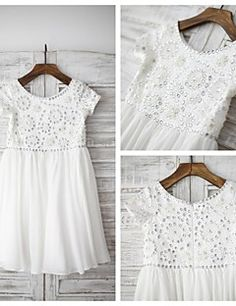 Sheath / Column Knee-length Flower Girl Dress - Chiffon Short Sleeve Scoop with – USD $ 69.99