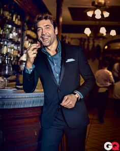 His whole face lights up when he laughs. I'm smitten. Javier Bardem