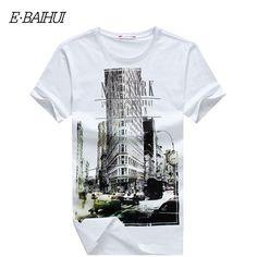 Marcelo burlon E-BAIHUI Marca para hombre camisetas camiseta ocasional tops tees Aptitud de Los Hombres Camisetas de algodón Camisetas Swag Y050