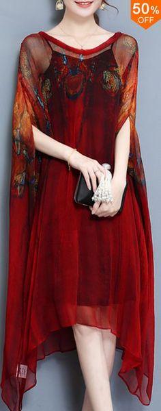 Elegant Two Piece Batwing Sleeve Printed Irregular Hem Dress For Women. #womensfashion #dresses #outfits