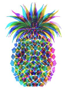 Pineapple CMYK Stretched Canvas by Schatzi Brown | Society6