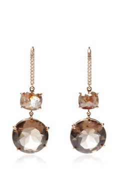 One Of A Kind Smokey Topaz And Rough Diamond Cushion Earrings by Nina Runsdorf for Preorder on Moda Operandi