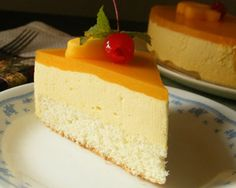 Easy mango mousse cake: 1 Sponge cake, Eggs – 3 , Mango puree – 1 cup, Ground sugar – 12 tbsp, Whipped cream – 12 ounce, Gelatin powder – 2 tbsp (dissolve in ¼ cup water)
