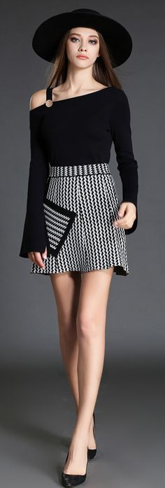 Black Flared Sleeves Zigzag Two-piece Dress