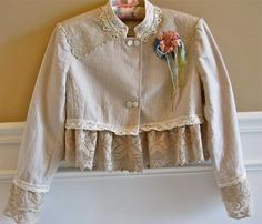 Victorian Styled Short Jacket Romantic Altered Couture Lots of Lace Mother of Pearl Buttons Antique Lace.