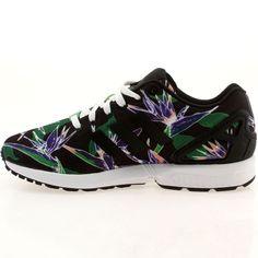 Adidas Originals ZX Flux B34518 Mens shoes FLORAL Core Black White Hawaiian Print