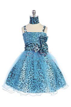 White/Turquoise Animal Print Mini Flower Girl Dress G3200-TQ $57.95 on www.GirlsDressLine.Com
