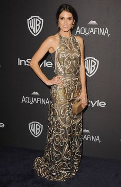 2016 Golden Globes: Nikki Reed is wearing a gold Naeem Khan dress with a paisley design. I love the design! It is beautiful!