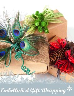 Peacock feathers, pinecones, raffia, craft paper -- embellish your #gifts this season :)