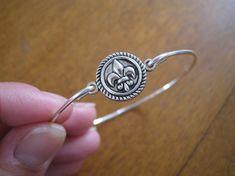 FLEUR De Lis in CIRCLE charm bangle bracelet by Protego on Etsy, $6.95