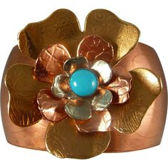 Mixed Metal Turquoise Flower Cuff Bracelet