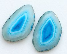 Aqua Blue Geode Slice 2 Pcs Matched Pairs Druzy by gemsforjewels