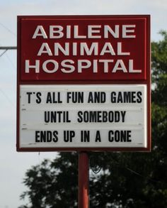 Thomas Metthe/Reporter-News  The sign outside Abilene Animal Hospital has been getting a lot of attention from social media.