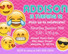 free printable emoji b-day invites - Google Search
