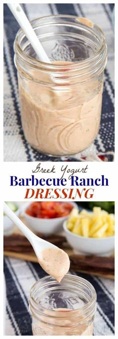 Greek Yogurt Barbecue Ranch Dressing - you just need basic ingredients to put a healthy and tangy twist on the classic Ranch salad dressing recipe for dipping veggies or drizzling over salads. Barbecue Ranch Dressing Recipe, Ranch Salad Dressing, Salad Dressing Recipes, Salad Recipes, Greek Yogurt Salad Dressing, Paleo Dressing, Yogurt Salad Dressings, Low Carb Recipes, Cooking Recipes