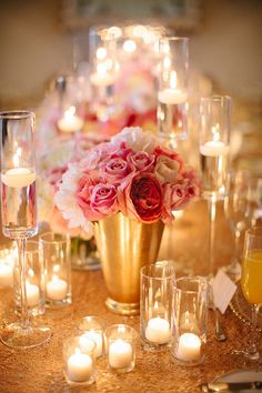 pink and gold centrepieces. Photography By / http://rebecca-arthurs.com,Planning And Design By / http://pacificaisles.com