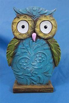 "New Art Deco Modern Wise Barn Hoot Owl Flat Statue Figurine Sculpture 8 5"" Blue   eBay"