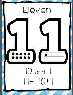 Common Core Aligned Teen Number Posters (from Kindergarten Stars)