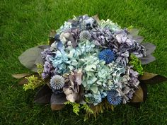 Custom Floral Arrangement For DHME  Hydrangea Arrangement  Echiniops  Home Decor  Floral Arrangement   Easter Decor  Mother's Day by donnahubbard on Etsy