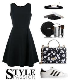 Black and Flowers by gicreazioni on Polyvore featuring moda, Emporio Armani, adidas Originals, Dolce&Gabbana and Chanel