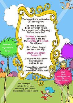 Dr. Seuss Pink Baby Shower Invitation PRINTABLE INVITATION DESIGN. $10.00, via Etsy.