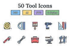 Tools & Equipment flat landing icons by EpicShop on Creative Market