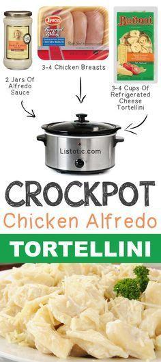 Crockpot Chicken Alfredo Tortellini 12 Mind-Blowing Ways To Cook Meat In… Crock Pot Food, Crockpot Dishes, Crock Pot Slow Cooker, Slow Cooker Recipes, Cooking Recipes, Quick Recipes, Crockpot Stuffing, Meat Recipes, Chicken Recipes