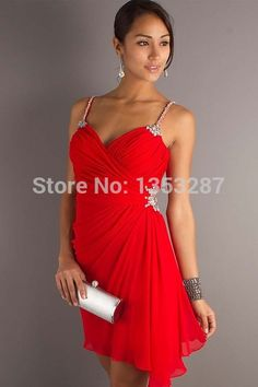 US 122 Red Cocktail Dress 2015 Short Party Dress Spaghetti Straps vestido de festa curto Free Shipping Prom Dress Stores, Homecoming Dresses, Criss Cross, Red Cocktail Dress, Chiffon Material, Curtido, Dress Picture, Spaghetti Strap Dresses, Sleeve Styles