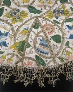 Materials and Techniques: Linen, embroidered with coloured silks, silver and silver-gilt thread