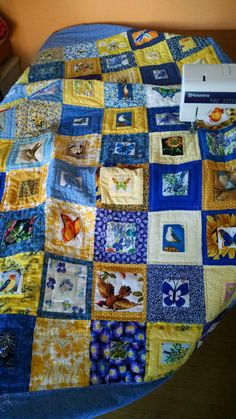 Yellow and Blue Bird/Butterfly/Flower Quilt