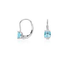 Mini Blue Topaz Drop Earrings in Sterling Silver, $59 | #Jewelry #Accessories #Fashion