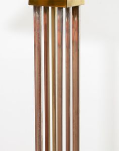 Mid Century Brass and Chrome Floor Lamp by Curtis Jere; 1976   From a unique collection of antique and modern floor lamps  at https://www.1stdibs.com/furniture/lighting/floor-lamps/