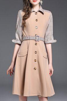 Deborah Dress in Khaki Housecoat, Button Dress, Work Wear, Nude, Buttons, Women's Fashion, Shirt Dress, Jackets, How To Wear