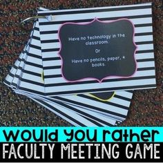 """Ready to spice up faculty meetings and improve teacher morale?    Use these activities to ease stress and take a break from professional development.  The """"Would You Rather"""" game includes custom silly questions that only a teacher would understand.  This can be used for the beginning, middle, or end of the year for stress relief."""