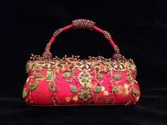 Mary Frances Handbag Purse NWT SIREN Red Lucky Flowers Beads Firecrackers