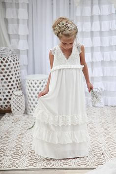 Matisse Maxi Dress - Off white/ Ivory Bohemian Flower Girl Flowergirls Flower girl dresses
