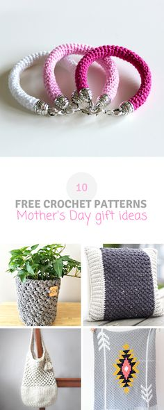 10 free crochet patterns that are great gift ideas for Mother's Day. Free roundup on wilmade.com including a #bracelet #pillow #blanket #plant cozy #bag and more