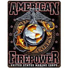 USMC 'American Firepower' 7.62 Design Vintage Steel Sign