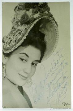 Fotografía Antoñita Moreno con autógrafo original Foto Gyenes dedicada años 50 sombrero Montehermoso - Foto 1