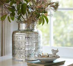 Plaid Etched Antique Mercury Glass Vase #potterybarn