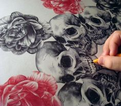 Drawing measuring 55cm x 55cm made with red and black ballpoint pens by Paul Alexander Thornton.