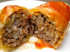 Gram's Galumpki [galabki] - Polish Stuffed Cabbage Rolls, one of my all time fave comfort foods. (I hope these are like my stepdad's Romanian cabbage rolls) Cabbage Rolls Recipe, Cabbage Recipes, Meat Recipes, Cooking Recipes, Healthy Recipes, Pastry Recipes, Pig In A Blanket Recipe Cabbage, Polish Pigs In A Blanket Recipe, Cookbook Recipes