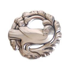 Georg Jensen Sterling Dove Brooch 165 Vintage Silver Midcentury... ($295) ❤ liked on Polyvore featuring jewelry, georg jensen, vintage jewellery, vintage silver jewelry, georg jensen jewellery and vintage jewelry