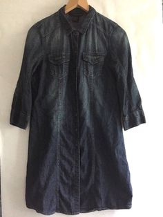 Calvin Klein Denim Shirt Dress Size Medium Blue Cotton 3/4 Sleeve Snap Front #CalvinKlein #ShirtDress #Casual