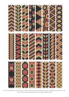 6 Colour Carrier Bead Patterns, Odd Count Peyote, Six-Colour Patterns, Full Word Charts, Colourway 1 Carrier Bead Patterns Odd Count Peyote Three-Colour Peyote Stitch Patterns, Beaded Bracelet Patterns, Bead Loom Patterns, Weaving Patterns, Color Patterns, Knitting Patterns, Mosaic Patterns, Embroidery Patterns, Peyote Beading