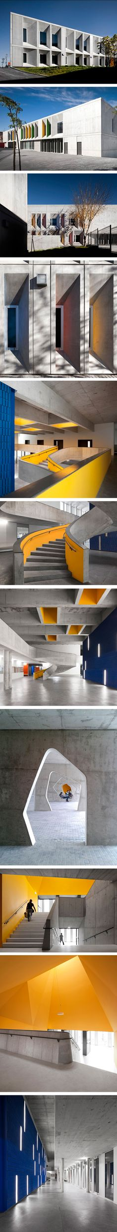 Braamcamp Freire Secondary School by CVDB Architects. It's in Lisbon, Portugal