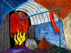 "The One with the Fire by David Hockney, 1991, oil on canvas, 36 × 48"" (91.4 × 121.9 cm) 