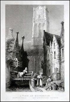 Rotterdam - View on St.Laurens   Steel engraving / Herkomst : Gezigten Holland en België, 1840, 11 x 17 cm.   eBay