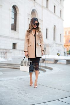 FEBRUARY 23RD, 2016 BY MARIA Black Skinny Scarf - Topshop Camel Coat // Asos Black Lace Dress // Christian Louboutin 'So Kate' Heels // Henri Bendel 'Uptown Snake' Satchel c/o // Free People Black Skinny Scarf // Hestra Acqua Gloves c/o // Free People Black Oversized Sunglasses